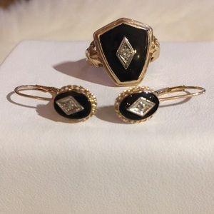 Vintage ring +earrings black onyx and diamonds